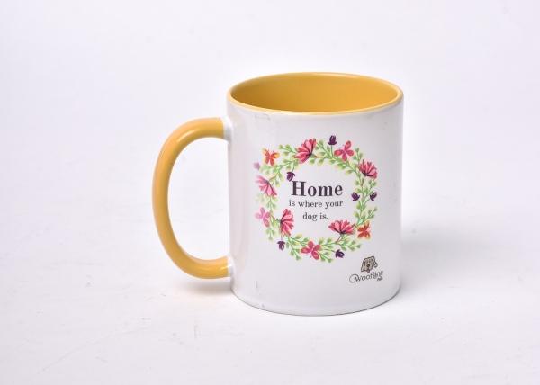 White and Yellow Colored Mug